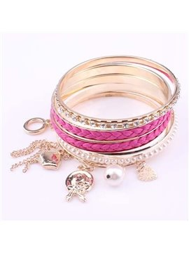 Women's Mulilti-Layer Pearl Pendant Bracelet