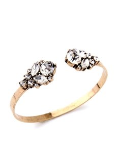 Women's Gold Vintage Alloy Crystal Flower Bangle Bracelet