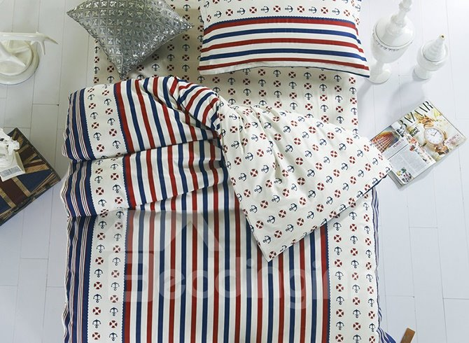 Sailing Theme Stripes Pattern Cotton Kids 3-Piece Duvet Cover Sets