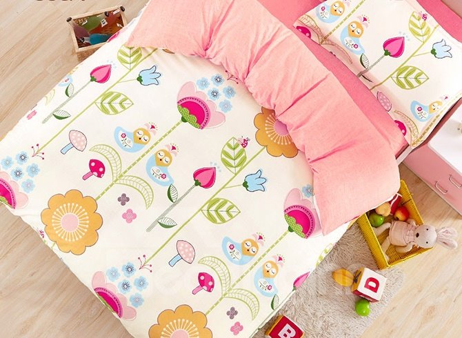 Lovely Cartoon Flowers Pattern Cotton Kids 3-Piece Duvet Cover Sets