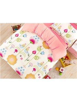 Lovely Cartoon Flowers Pattern Cotton Kids 3-Piece Duvet Cover Sets