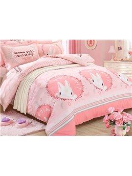 Lively Rabbit Pattern 100% Cotton Kids Duvet Cover Sets