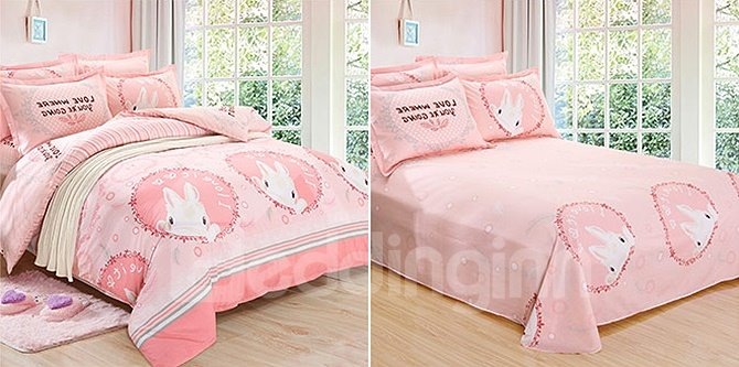 Lively Rabbit Pattern 100% Cotton Kids Duvet Cover Sets
