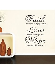 Inspirational Words and Quotes Faith Love Hope High Removable Wall Sticker