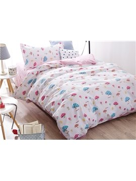 Super Cute Mushroom Pattern 3-Piece Purified Cotton Kids Duvet Cover Sets