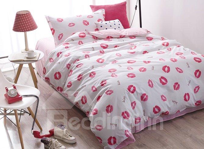 Romantic Pink Lips Pattern 3-Piece Purified Cotton Kids Duvet Cover Sets