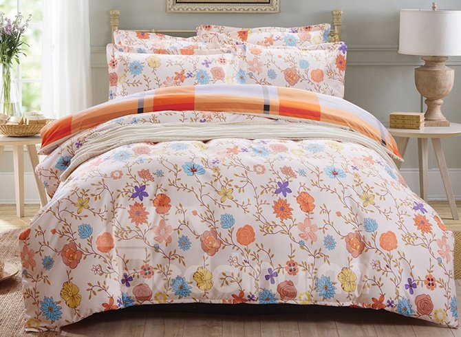 Flowers and Vine Pattern 3-Piece Purified Cotton Kids Duvet Cover Sets