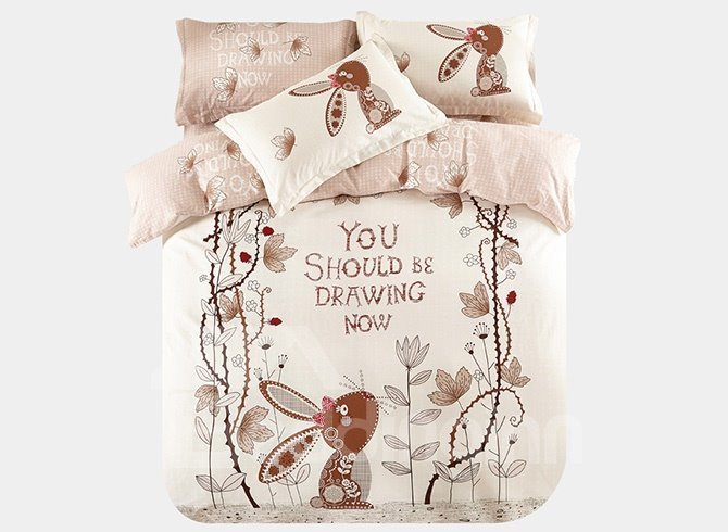 Lovely Rabbit and Vine Pattern 3-Piece Purified Cotton Kids Duvet Cover Sets