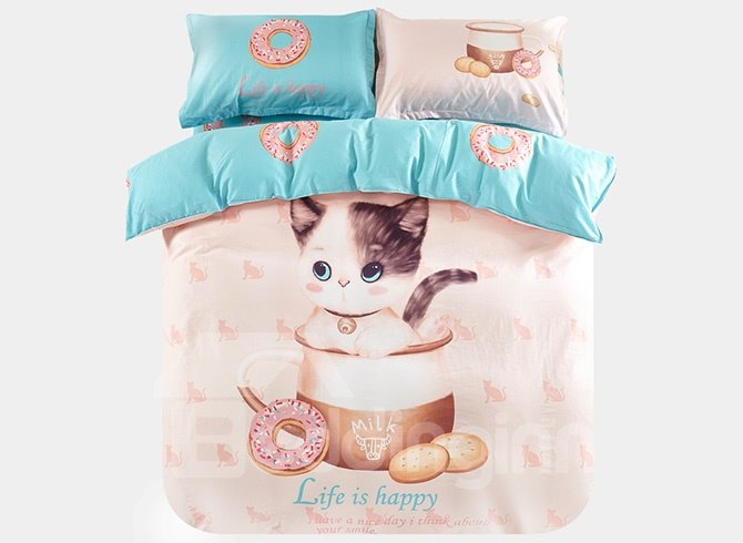 Super Cute Cat in The Milk Cup Print 3-Piece Purified Cotton Kids Duvet Cover Sets 11655351