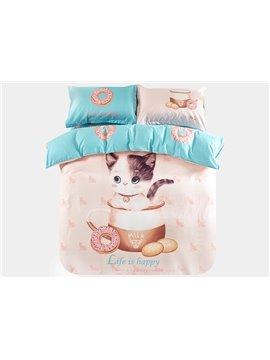Super Cute Cat in The Milk Cup Print 3-Piece Purified Cotton Kids Duvet Cover Sets