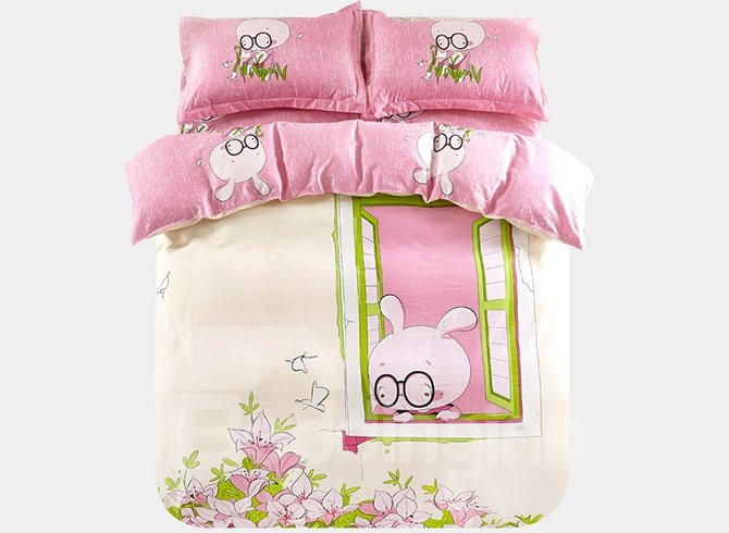 Lovely Rabbit By The Window Print 3-Piece Purified Cotton Kids Duvet Cover Sets