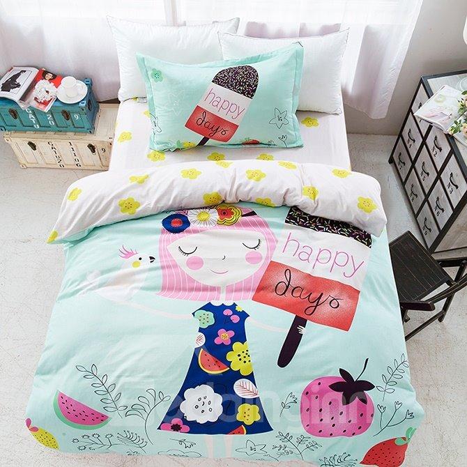 Wonderful Girl Dream 3-Piece Purified Cotton Kids Duvet Cover Sets