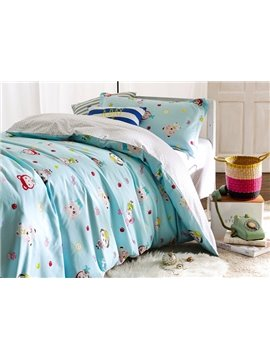 Cute Animal Friends Pattern 3-Piece Purified Cotton Kids Duvet Cover Sets