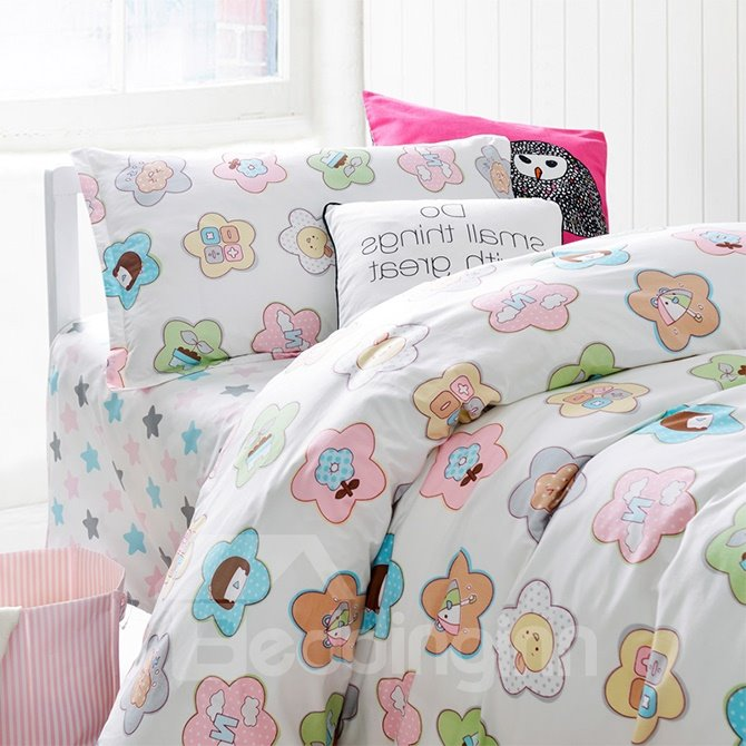 The Story of Flowers 3-Piece Purified Cotton Kids Duvet Cover Sets