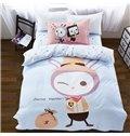 Cowboy Rabbit Pattern 3-Piece Purified Cotton Kids Duvet Cover Sets