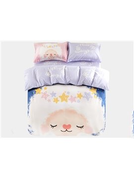 Little Sheep with Star Crown Print 3-Piece Purified Cotton Kids Duvet Cover Sets