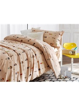 Tiny Cute Boy and Girl Pattern 3-Piece Purified Cotton Kids Duvet Cover Sets