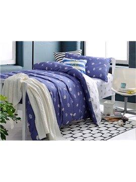 Dark Blue Crown Pattern 3-Piece Purified Cotton Kids Duvet Cover Sets
