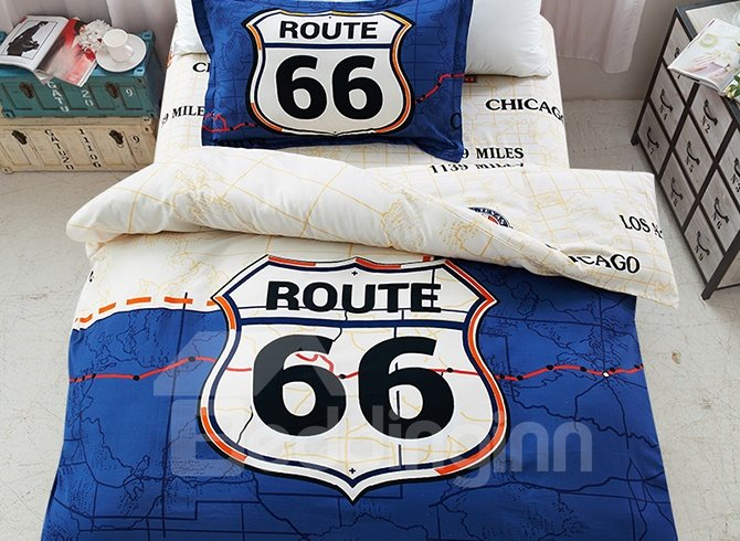 Dark Blue Route Pattern 3-Piece Purified Cotton Kids Duvet Cover Sets