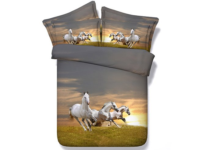 Three Running White Horses Printing 5-Piece Comforter Sets