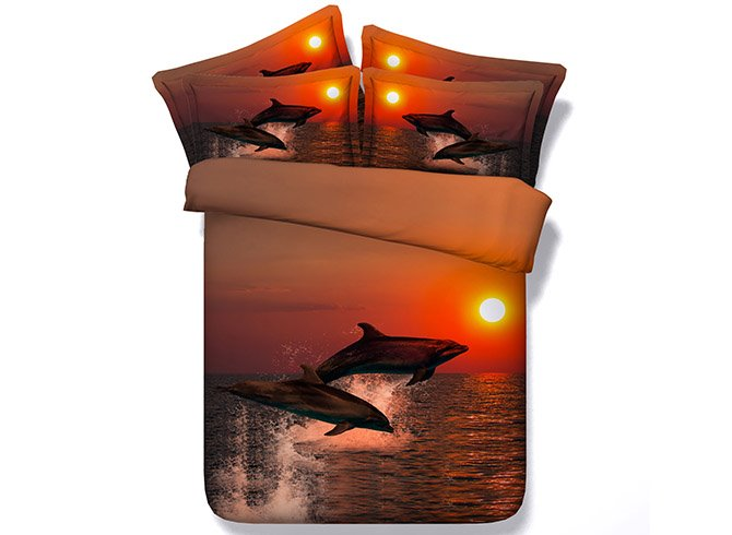 Frolic Dolphins under Sunset Printing 4-Piece Duvet Cover Sets