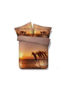 Jumping Dolphins and Sea Twilight Scenery Printing 4-Piece Duvet Cover Sets