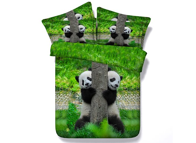 Pandas Climbing Tree Printing 4-Piece Duvet Cover Sets