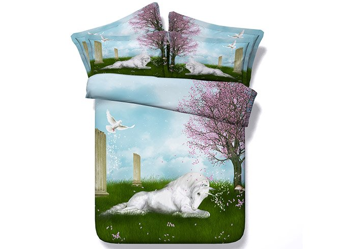 White Horse Crouching on Grass Printing 4-Piece Duvet Cover Sets