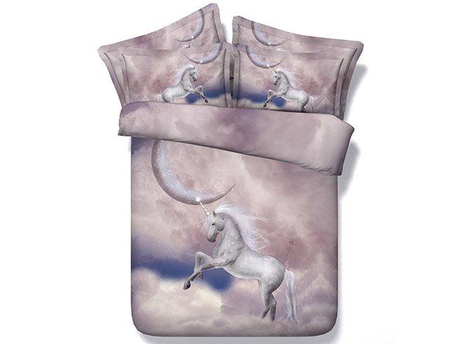 White Horse on Cloud Print Comfy 5-Piece Comforter Sets
