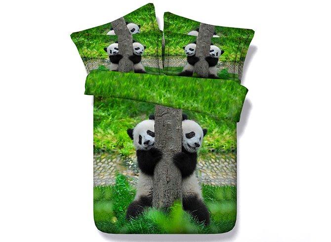 Lovely Pandas Climbing Tree Printing 5-Piece Comforter Sets