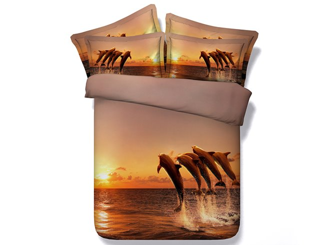 Five Jumping Dolphins under Sunset Printing 5-Piece Comforter Sets