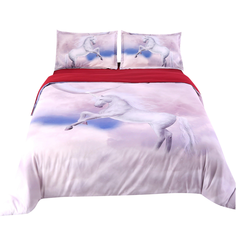 White Horse on Cloud Print 4-Piece Duvet Cover Sets