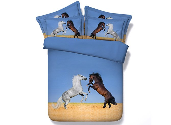 Jumping White and Brown Horses Print 4-Piece Duvet Cover Sets