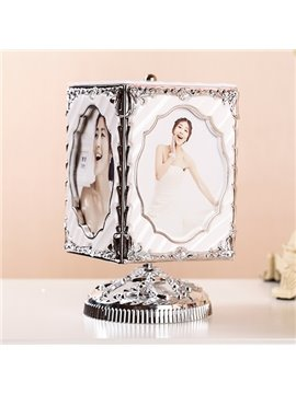 Gorgeous 4-Photo Revolving Musical Box Desk Photo Stand
