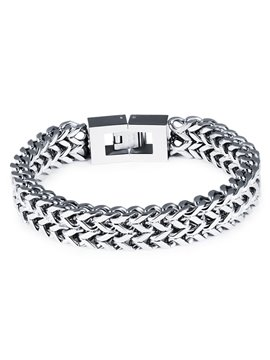 Men' s Fashion Silver Square Button Bracelet