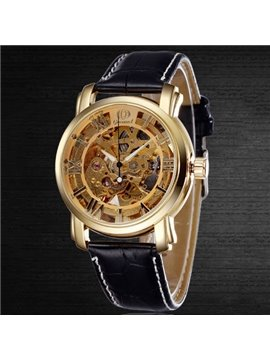 Mens Vintage Skeleton Automatic Self-Winding Mechanical Watch