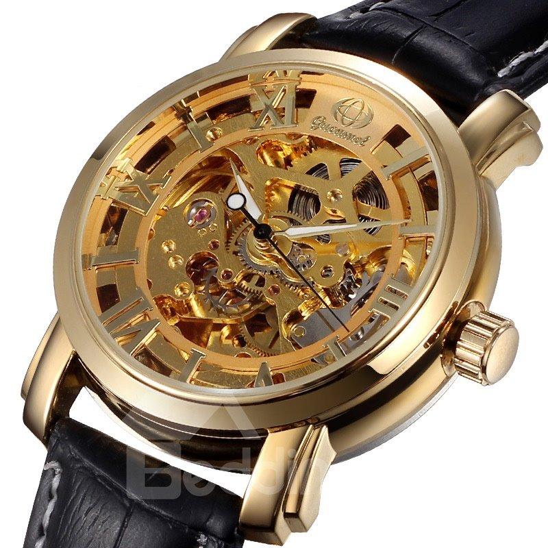 Mens Vintage Skeleton Automatic Self-Winding Mechanical Watch