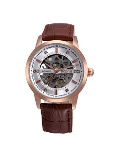 Mens Fashion Diamante Skeleton Automatic Self-Winding Big Dial Mechanical Watch