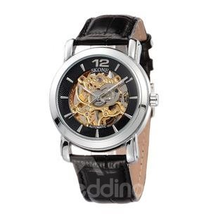 Retro Water Resistant Skeleton Leather Big Skeleton Dial Casual Black Men' s Mechanical Wrist Watch beddinginn