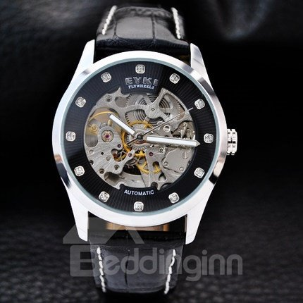 Mens Fashion Skeleton Automatic Self-Winding Waterproof Leather Band Mechanical Watch 11657641