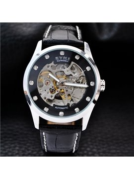 Mens Fashion Skeleton Automatic Self-Winding Waterproof Leather Band Mechanical Watch