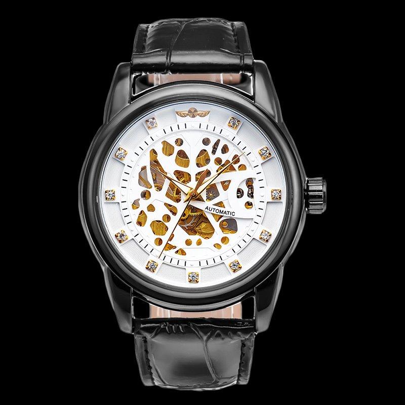Mens Fashion Skeleton Diamante Dial Mechanical Watch