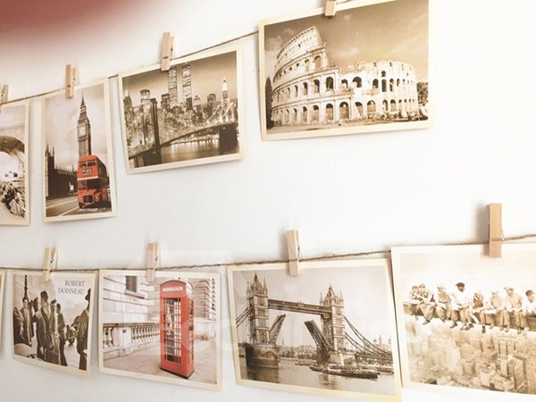 Creative Postcard of Famous Architectures Wall Photo Decoration