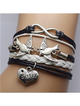 Women' s Fashion Peace Dove Heart Shape Pendant Wrap Bracelet