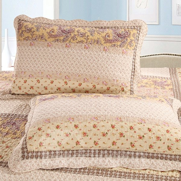 Graceful Flowers Design Muted Beige 3-Piece Cotton Bed in a Bag