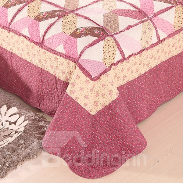 Pastoral Flowers Printing 100% Cotton 3-Piece Bed in a Bag