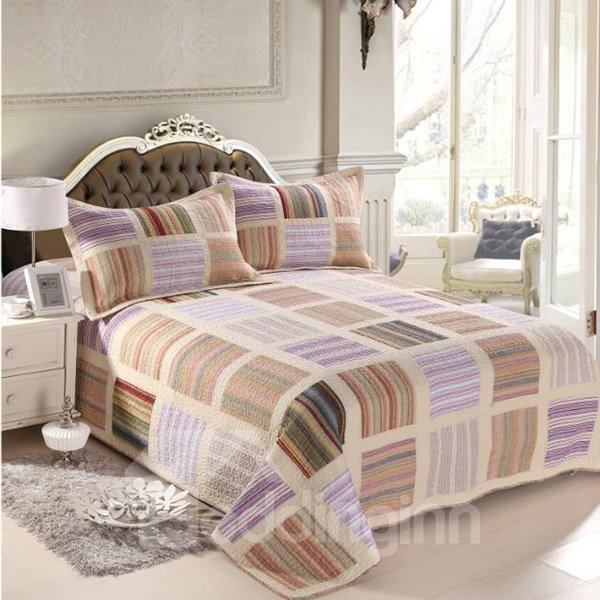 Muted Colored Stripes Design Cotton 3-Piece Bed in a Bag