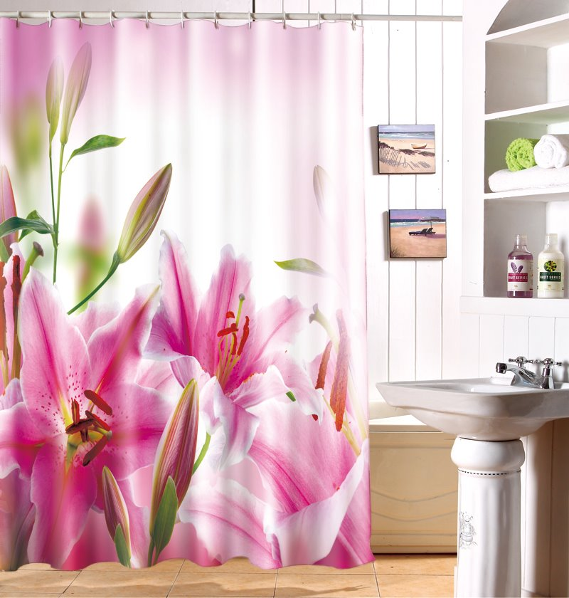 Fancy Blooming Pink Lily 100% Polyester Bathroom Shower Curtain