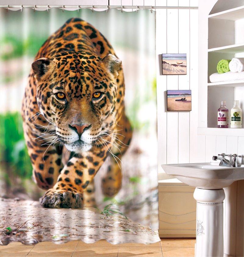 Vivid Special 3D Effect Leopard Image Waterproof Shower Curtain