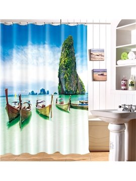 Attractive Seaside Landscape Boat Harbour 100% Polyester Shower Curtain